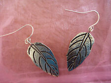 Silver Tibetan Nature Hippy Large Thin Leaf Drop Down Earrings. Free Shipping