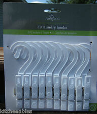 10 Laundry Hooks Clothes Pins Hanging Dry Drip Plastic Clips Hangers by Fox Run