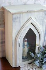 Small 18 inch Display Cabinet Rustic Wood Arched Door Distressed White Finish