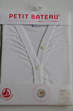 $78 NEW PETIT BATEAU WHITE COTTON GIRLS CARDIGAN Top Sweater  size 36 Months 3T