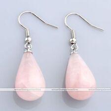 Rose Quartz Teardrop Crystal Gemstone Bead Dangle Ear Drop Hook Earring Jewelry