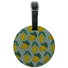 Lots of Lemons Pattern Round Leather Luggage Card Suitcase Carry-On ID Tag