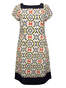 NEW GRACE WHITE PURE COTTON SQUARE NECK PRINTED SHIFT DRESS SIZES 10 TO 18