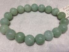 "10mm Genuine Round Shape Burmese Jade Stretch Bracelet, 7.5"""