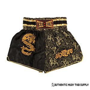 Thaiboxing K1 MMA KICKBOXING MUAY THAI DRAGON BOXING SHORTS BLACK GOLD SILVER