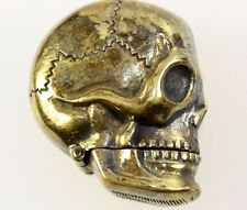 SKULL HEAD SKELETON STEAMPUNK BRASS MATCH SAFE VESTA CASE