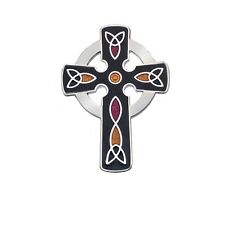 Black Celtic Cross Brooch Silver Plated Brand New Gift Packaging