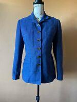 Ralph Lauren Black Label Blue Linen Button Notched Lapel Blazer Jacket Size 6