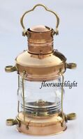 NAUTICAL DESIGNER BRASS & COPPER ANCHOR OIL LAMP MARITIME SHIP HANGING LANTERN