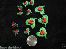 12 Christmas Holiday  Buttons / Holly with berries  collection