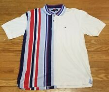 Tommy Hilfiger Polo Shirt Vertical Stripe Color Block White Blue Red Men's XL