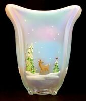 Fenton Art Glass Hand Painted Whispering Woods On French Opalescent Square Vase