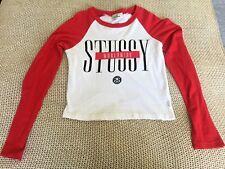 Womens STUSSY Raglan Red White Logo T Shirt Winter Long Sleeve Winter Size 8