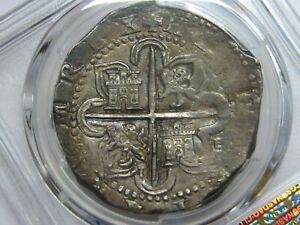 (1556-88) PHILIP II 8 REAL COB PCGS AU55 SEVILLA ASSAYER D SPAIN SILVER COLONIAL