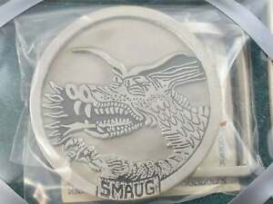 Smaug Lord of The Rings Dragon 1980s Vintage Pewter Belt Buckle Original Box