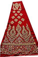 Vintage Indian Hand Bead Rhinestone Red Color Velvet Lehanga Patch 1 Free On 5