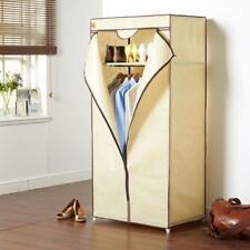 Beige Single Canvas Wardrobe Storage Shelf Hanging Rail 160Cm High