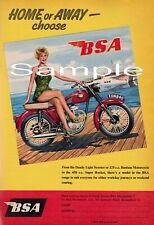 BSA Motor Cycle advert 1950's - A4 print