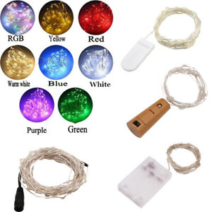 Battery Micro Rice Wire Bottle Cork Copper Fairy String Lights Party Christmas