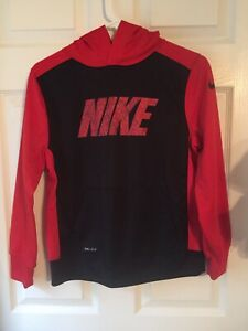 Kids Nike Pullover Dry-Fit Hooded Sweatshirt Black & Red Size Large