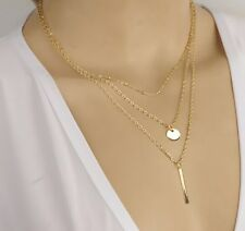 2015 Fashion Women Mixture Pendant Multilayers Gold Chunky Collar Necklace