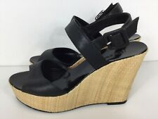 J Crew Black Leather Strappy Peep Toe Ankle Fasten Woven Wedges Heels Sandals 6