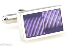 BRILLIANT PURPLE SILVER RECTANGLE CUFFLINKS WITH GIFT BOX BOW TIE HEAVEN