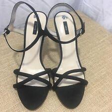 Women's MANGO MNG Black leather Fashion High Sandals size 9.5