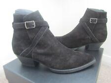 New Saint Laurent Black Suede Western Lukas Jodhpur Boots - 42.5