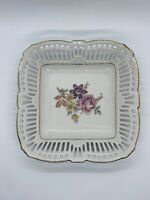 Vintage Schwarzenhammer Bavaria Square Floral Candy Trinket Dish Made In Germany