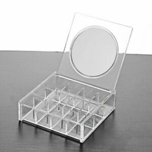 Cosmetic Organizer Clear Acrylic Makeup with Mirror Holder Box Jewelry Storage++