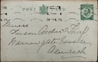 King George V ½ Penny Antique Postcard Posted from Newcastle July 1915