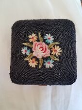 Vintage Compact Powder Made in FRANCE. Hand Embroidered & Beaded. Complete!