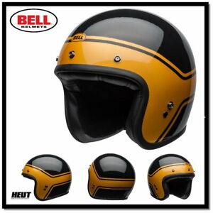 BELL Custom 500 DLX Helm STREAK gloss black / gold Jethelm Cafe Racer Helm  NEU