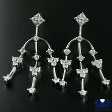 1.25 Ct Round Cut Diamond Dangle Drop Earrings With Post In 14K White Gold