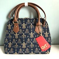 Signare Tapestry Convertible Top Handle Shoulder Bag Navy Blue Fleur De Lis