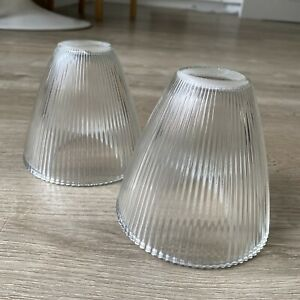 2 x Ribbed Clear Glass Light Shades Ceiling Light Fitting Shades