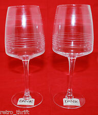 New Set of 2 Dansk Baltic White Wine Clear Etched Glass 16 oz 473ml Discontinued