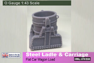 0 scale Railway - Steel Ladle and Frame - Crucible  Wagon Load  scenery 7mm