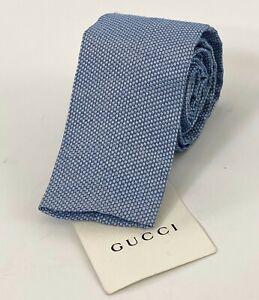 "GUCCI Linen Silk Blend Square Tip Skinny Neck Tie Blue/White Men's 2 1/8"""