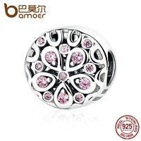 Bamoer European S925 Sterling Silver Charm Blooming flowers Pink cz fit Bracelet
