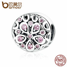 Bamoer European S925 Sterling Silver Charm Blooming flowers Pink cz fit Bracelet