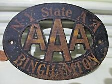 """Rare Vintage 1950s NY STATE AA AAA BINGHAMTON Steel 4"""" by 5.5 inch Plaque/Sign"""