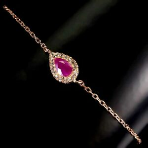 Pear Red Ruby 6x4mm Cz 14K Rose Gold Plate 925 Sterling Silver Bracelet 7.5 Ins