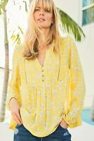 Ex Nxt Womens Yellow  Ladies Shirt Blouse Top Plus 12 14