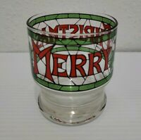 Vintage CERA MERRY CHRISTMAS Stained Glass Glasses Small 4 Oz