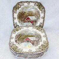 8 pc Set Vintage Johnson Brothers England Friendly Village Square Salad Plates