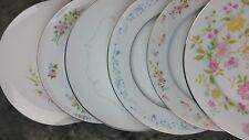 6 Vtg White, Pink, Blue Floral Mismatched China Dinner Plates Noritake + DP6n2