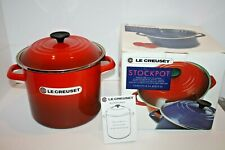 New Le Creuset Enameled Steel Stove Top Stockpot 8 US QTS Cherry