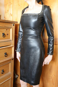 Crazy Outfits Black real Leather long sleeved dress size 8